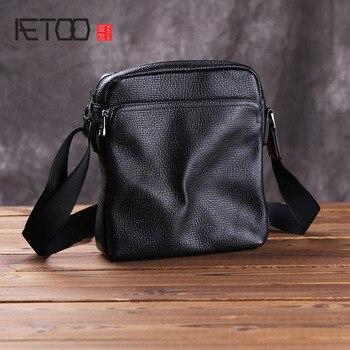 AETOO Leather men's bag, casual shoulder bag, head leather business briefcase, trend men's slantbag
