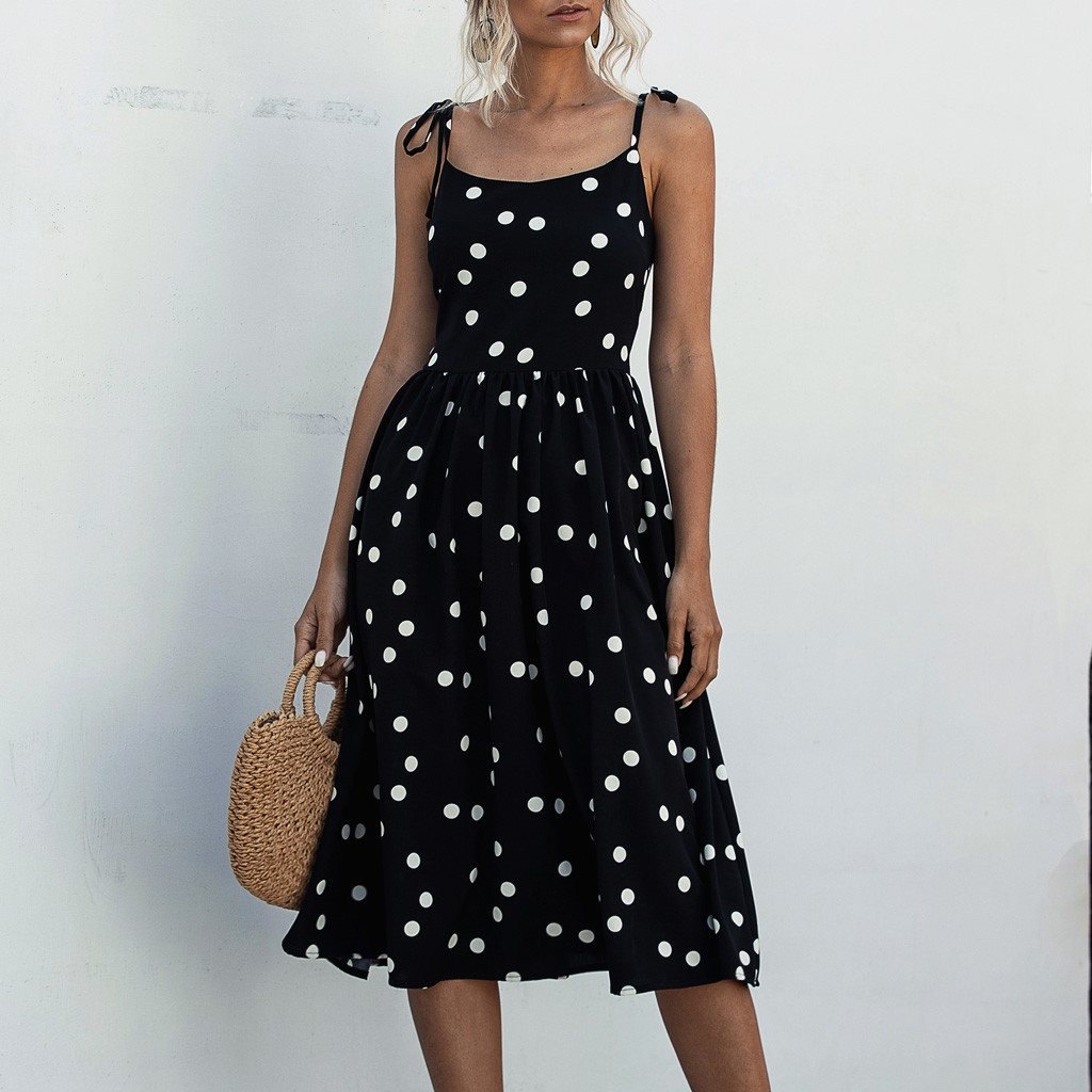 Summer Dress Women Dot Print Sleeveless Bohemian Dress Evening Party Dresses  Spaghetti Strap Ladies Dresses And Sundress 2020