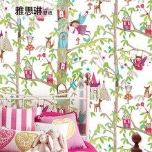 Хорошее качество; одежда с героями мультфильмов деревья», «животные», «деревья» дом из нетканого материала детской комнаты обои розовая юбка-пачка в полоску в стиле принцессы комнаты обои