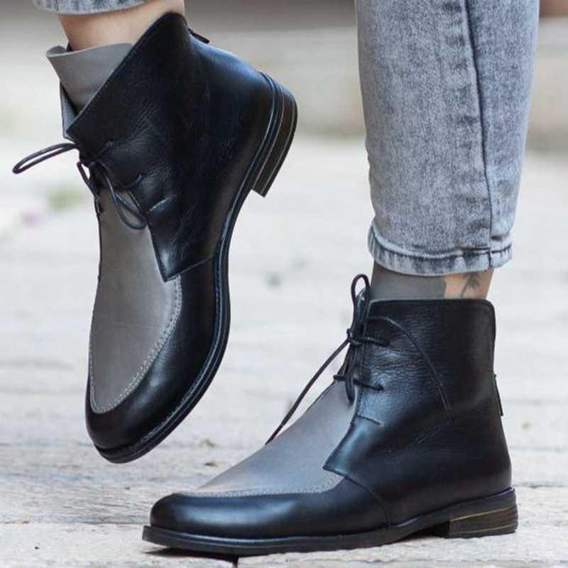 Puimentiua mais tamanho botas de tornozelo feminino plataforma rendas até fivela sapatos de salto grosso bota curta senhoras calçados casuais transporte da gota