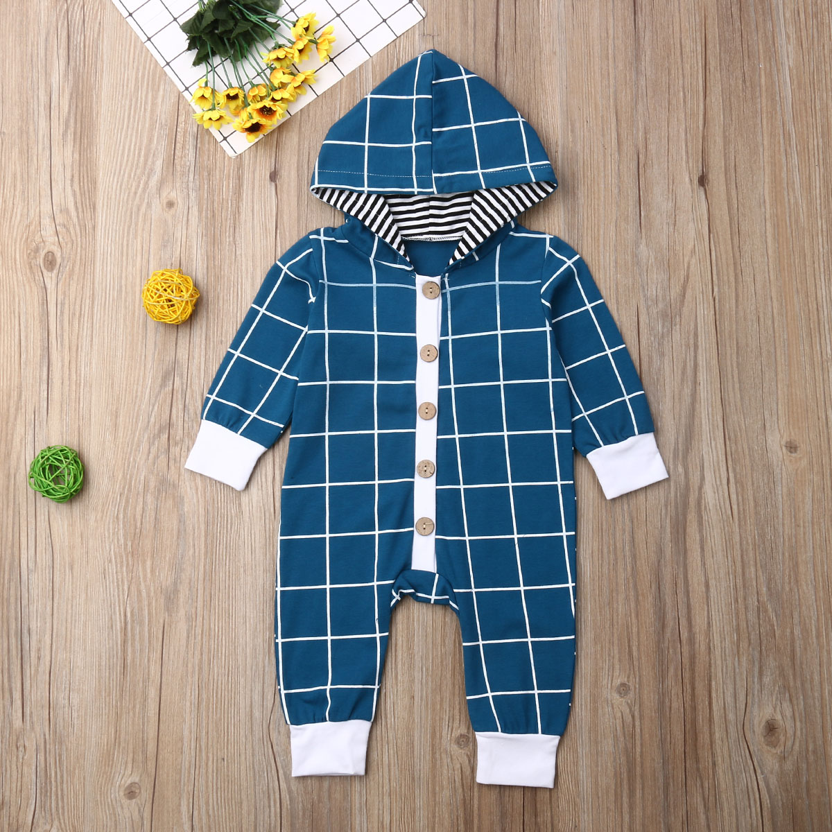 Pudcoco Newborn Baby Boy Clothes Long Sleeve Plaids Button Hooded Romper Jumpsuit One-Piece Outfit Cotton Clothes