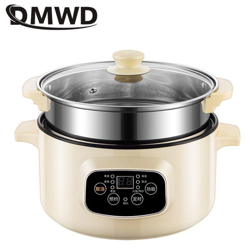 DMWD Mini Electric Multicooker Breakfast Maker Noodles Pasta Cooker Hot Pot Porridge Soup Cooking Pot For 1-3 People 220V