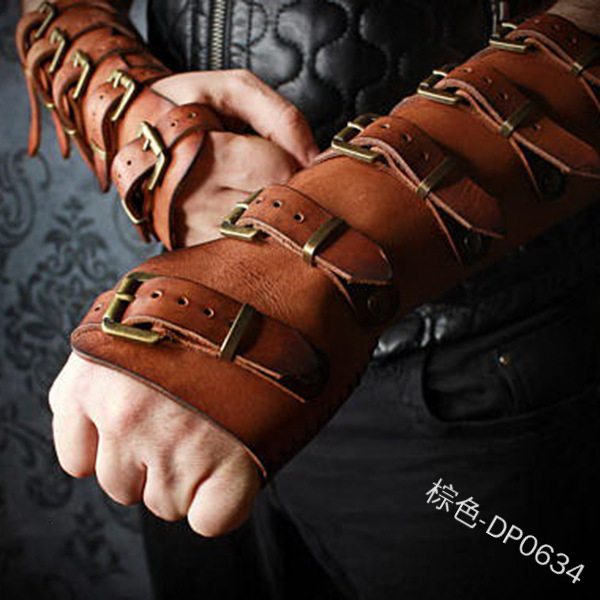 Steampunk Viking Leather Bracers Medieval Retro Strap Buckle Adjustable Leather Gloves Vambraces Fashion Cosplay Bracelet Costum