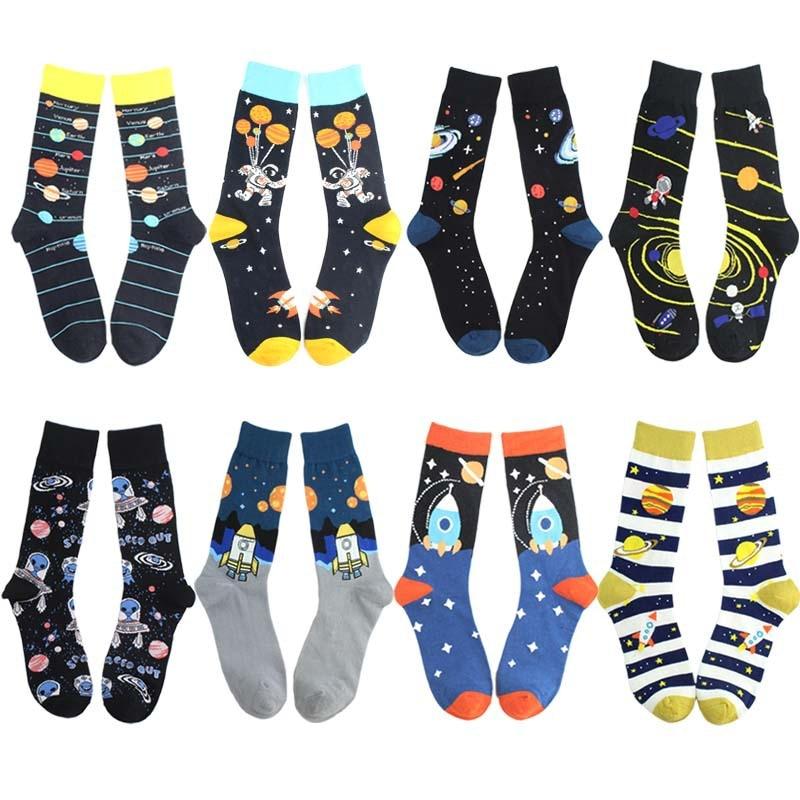 2019 New Spring Cotton Men's Space Socks Korean Women's Summer Fashion Astronaut Planet Socks Universe Novelty Short Funny Socks
