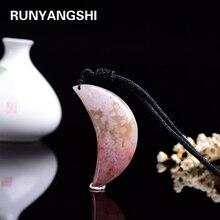 Necklace-Ornament Pendant Meditation Polished-Quartz Cherry Blossom Agate Moon Natural Crystal