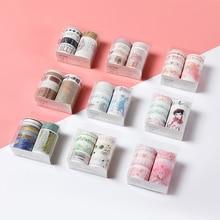 10pcs/set Kawaii Basic Color Washi Tape Adhesive DIY Scrapbooking Journal Sticker Masking Stationery School Supplies