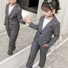 Wedding Kids Suit Blazer-Set Teenagers Girls Pant Plaid Formal Fashion 11-13t 4 5-7-9