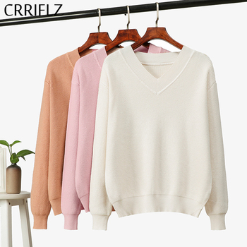 2020 New Loose Plus Size Knitted Sweater Women Autumn Winter Casual Thick Solid V-neck Pullovers CRRIFLZ