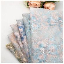 Tissu en maille brodé au mètre, tissu à fleurs bilatéral, dentelle pour jupe de mariage, brocart d'été, Tulle, couture, bricolage