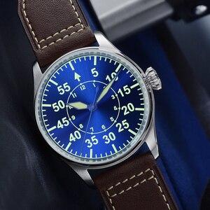 Image 3 - Мужские Водонепроницаемые механические часы пилот из нержавеющей стали