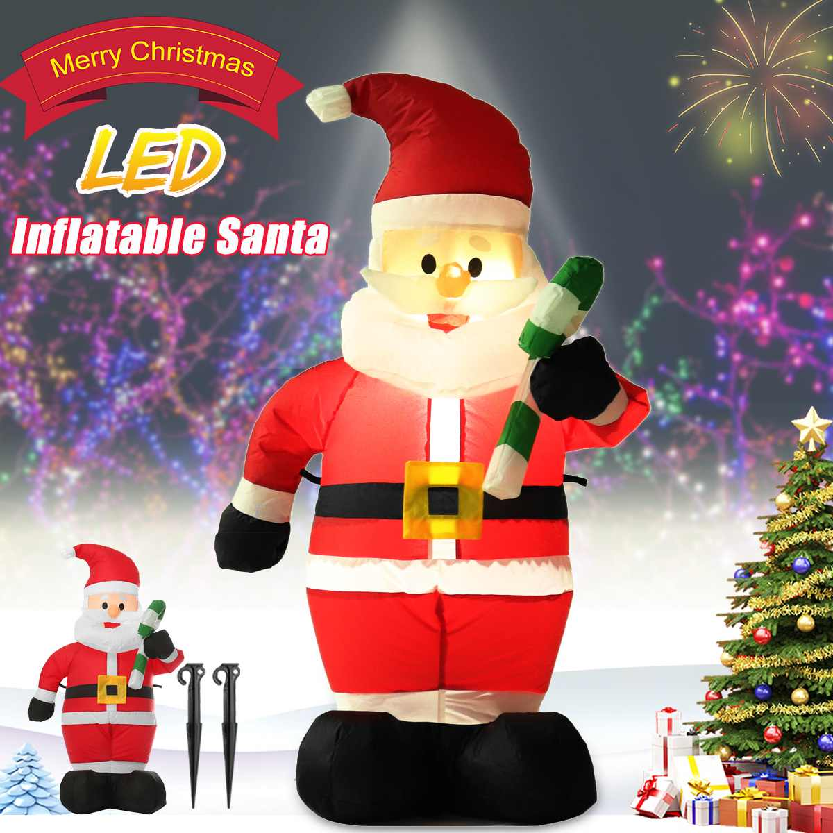 1.2M Merry Christmas Inflatable Santa Claus Night Light Inflatable Doll For Outdoor Garden Toys Christmas Party New Year