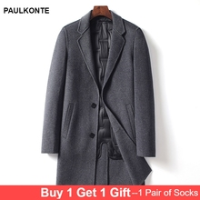 PAULKONTE Mens Turndown Collar Long Coat High Quality Casual M-8XL Large Size Woolen Jacket(The Liner Is Detachable)