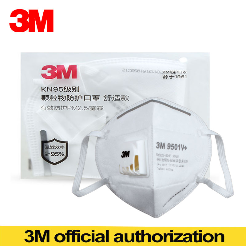 3M 9501V+ Particulate Respirator Folding Type With Exhalation Valve Adult KN95 Protect PM2.5 Respirator