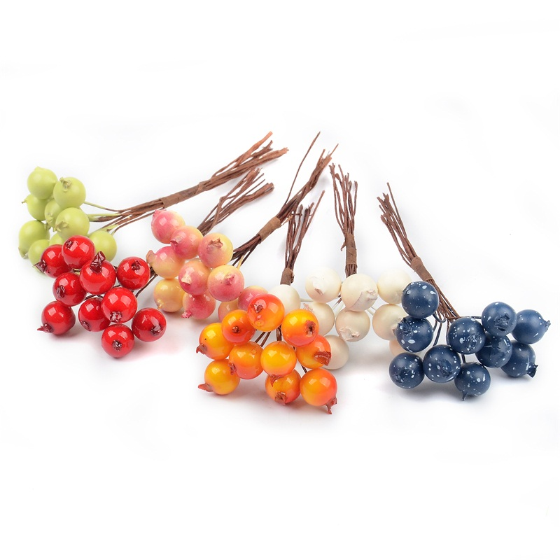 10Pcs Mini Artificial Plastic Pomegranate Fruit Small Bouquet Stamen Wedding Home Decorative DIY Christmas Tree Garland Craft