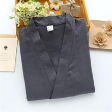 Кимоно в японском Стиль, хлопок, одежда для сна, Для мужчин Для женщин пижамы однотонные комплекты летние длинные брюки 3/4 с длинным рукавом и v-образным вырезом, одежда для сна