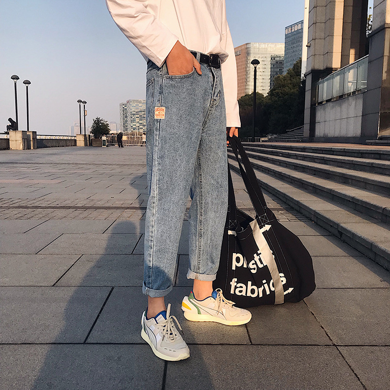 Aberdeen Teenager INS Men Capri Pants Korean-style Trend Ulzzang Literature And Art-Style Loose Straight Jeans Men's