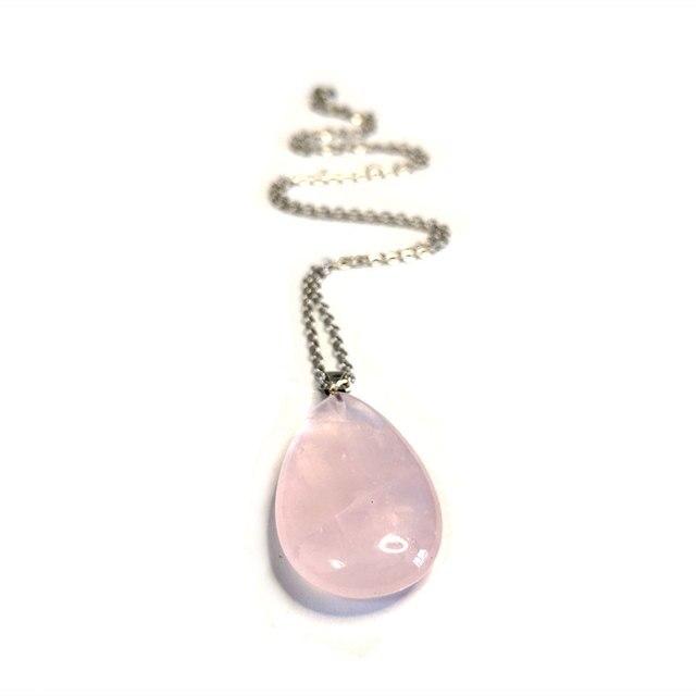 Nuevo Cuarzo Rosa Natural collar plateado Cadena de acero gema gota de agua Colgante de Piedra
