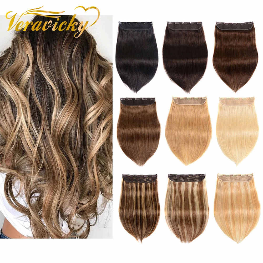 120g 150g Clip in One Piece 100% Real Human Hair Extension 1p/w 5 clips Machine Made Remy Natural Hair Piece Clip ins