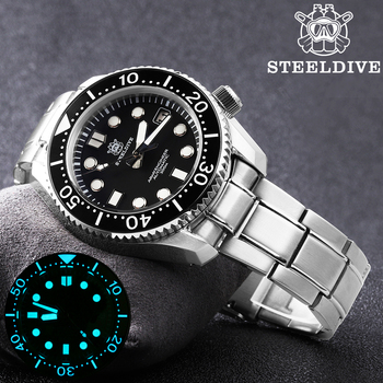 STEELDIVE 1968 SKX001 Automatic Watch Men Undefined Dive 300M C3 Luminous NH35A Mechanical Watches - discount item  58% OFF Men's Watches