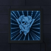 3D Creative Skull Rattlesnake Animated Tunnel Moon Lamp LED Infinity Mirror light porta retrato Halloween Horror Totem Emblem