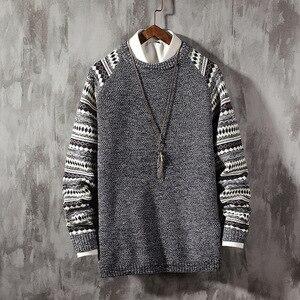 Мужской теплый вязаный пуловер в стиле ретро, зимний свитер с круглым вырезом, Одежда большого размера