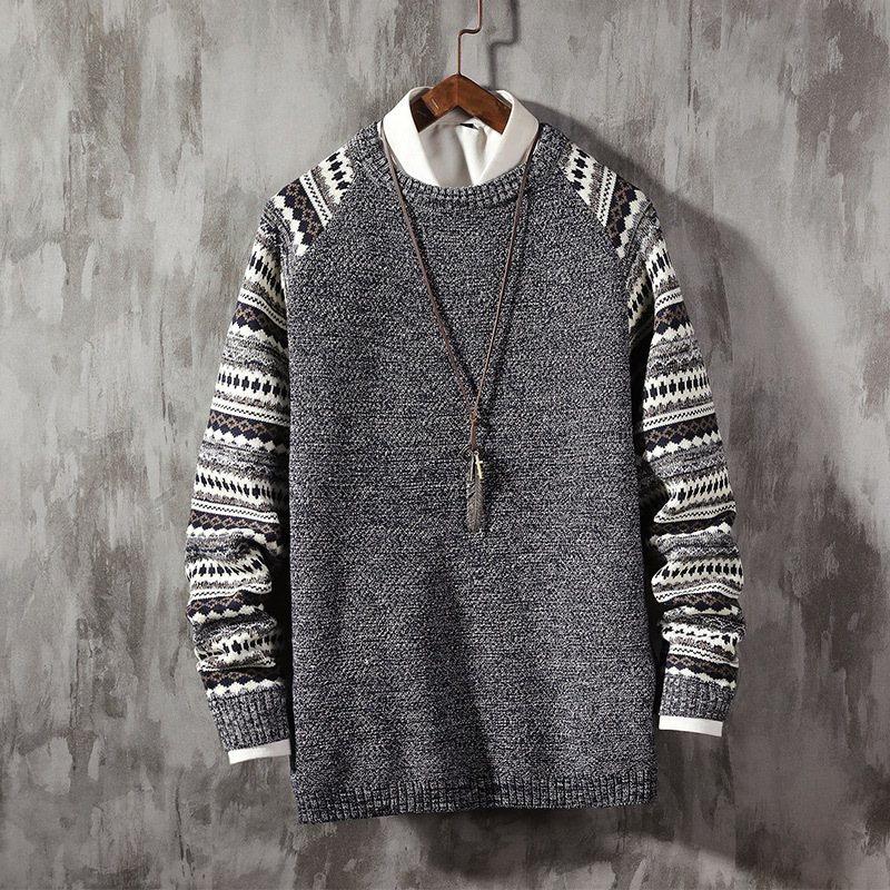Winter Sweater Men's Warm Fashion Retro O-neck Knit Pullover Men Wild Knitting Sweaters Male Sweter Clothes Large