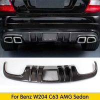 C Class Carbon Fiber Rear diffuser lip Spoiler for Mercedes Benz W204 C63 AMG Sedan 4 Door 2008 2011 FRP