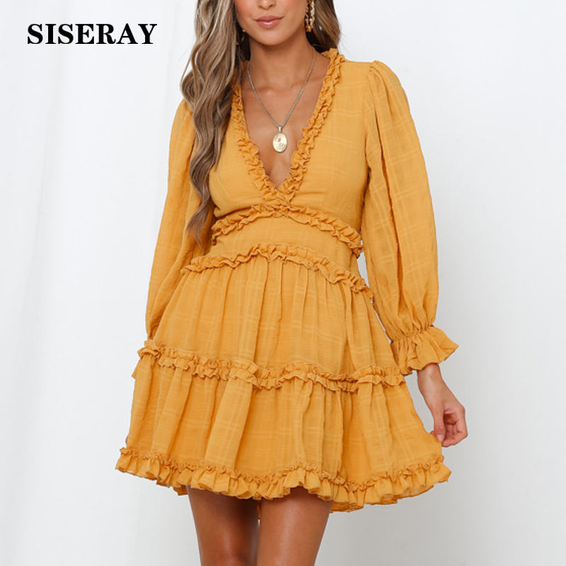 New 2019 Sexy Open Back Frill Skater Dress Mini Robe Femme Long Sleeve Romantic Going Out Ladies Dress Deep V Party Dress Women in Dresses from Women 39 s Clothing
