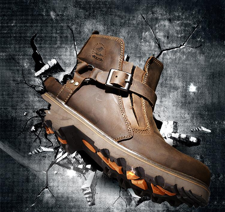 MJMOTO Retro hommes cuir moto bottes imperméable Vintage hors route moto protection botte Motocross rue équitation chaussures