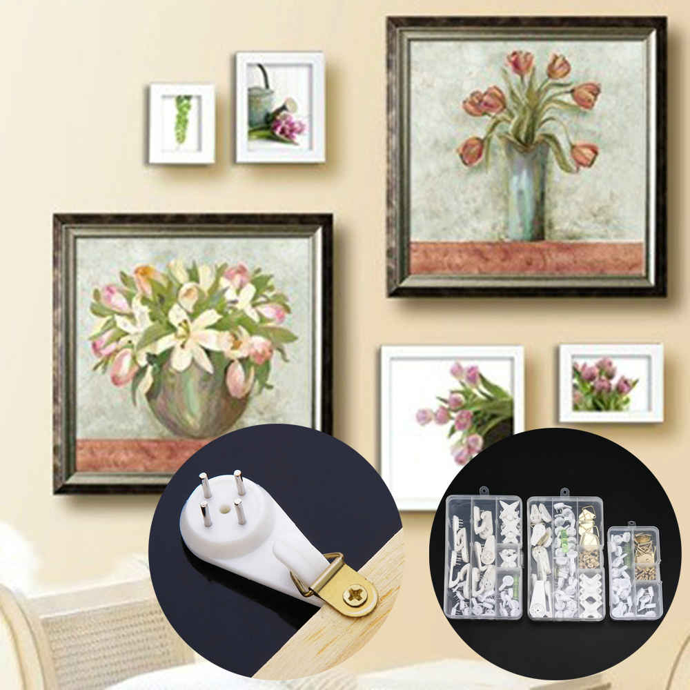 5PCS Wall Mount Picture Frame Hook Seamless Needle Clock Photo Frame Nail Plastic Wall Hook Hanger Home Decor