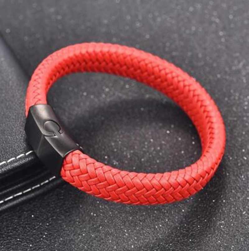 Классический красный кожаный плетеный браслет в стиле панк из нержавеющей стали с магнитной застежкой мужские ювелирные изделия для вечеринок рок