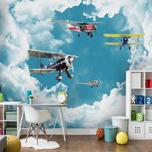 Custom Wallpaper For Kids Room Modern Mediterranean Blue Sky White Clouds Airpla