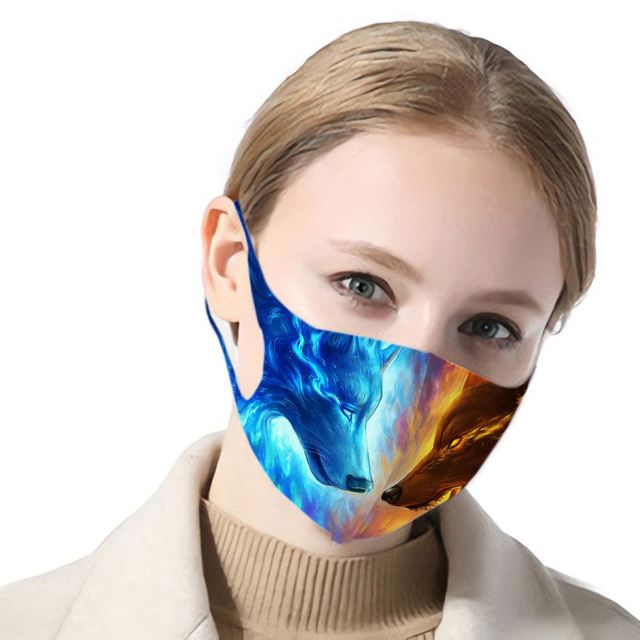 3d Print Wolf Anti Haze Dust Washable Reusable Double Layer Dustproof Winter Wolf Mask Mouth Antiviral Mouth Mask 3