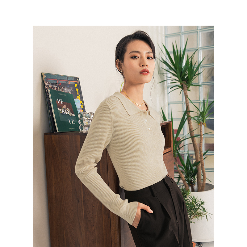 INMAN 2020 Spring New Arrival Office Elegant Solid Color Turn Down Collar Fitting Minimalist  Lady Women Knit  Tops