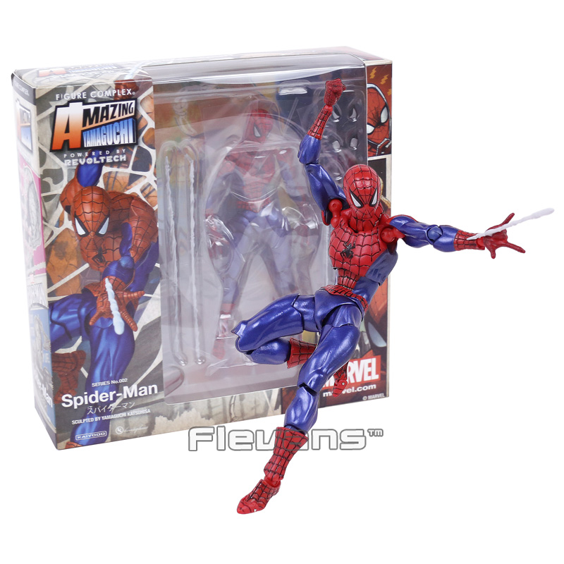 Revoltech Series NO.002 Spiderman The Amazing Spider Man PVC Action Figure Collectible Model Toy 16cm