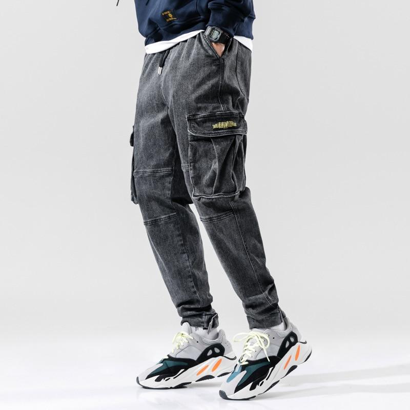Fashion Streetwear Men Jeans High Quality Gray Loose Fit Big Pocket Denim Cargo Pants Hombre Harem Trousers Hip Hop Jeans Men