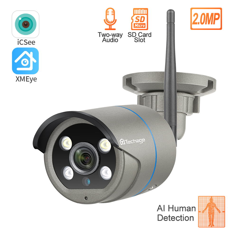 Techage 1080P Wireless IP Camera Human Motion Detect Two Way Audio Outdoor Home Security Video Surveillance CCTV Camera SD Card