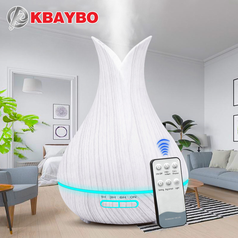 400ML Remote Control Ultrasonic Wood Grain Humidifier Aromatherapy Aroma Essential Oil Diffuser For Home Bebe