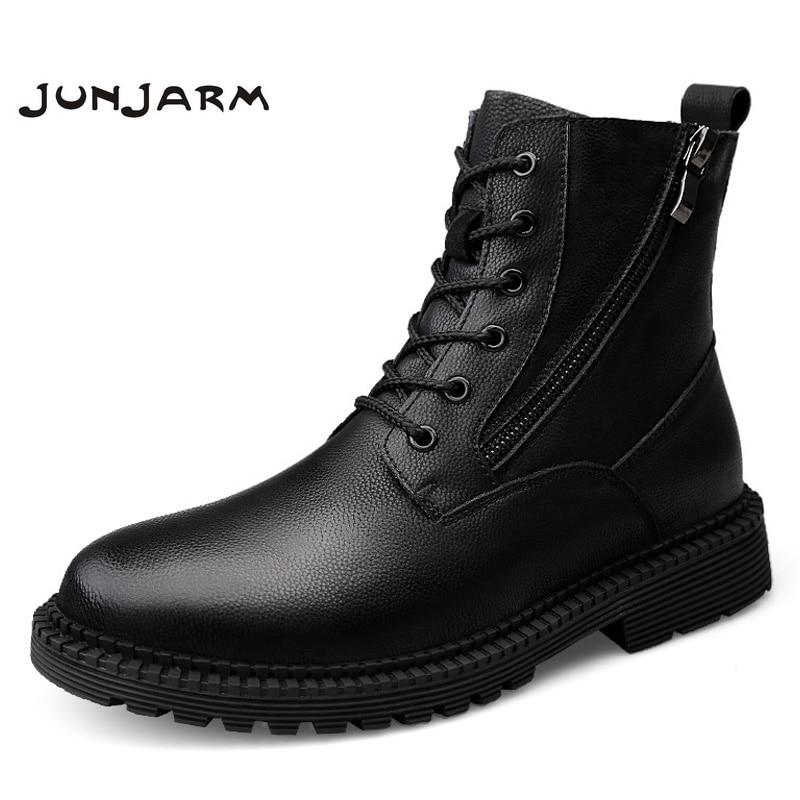 JUNJARM Fashion Men Boots High Quality Genuine Leather Ankle Snow Boots Shoes Warm Fur Plush Lace-Up Winter Shoes Size 38-47