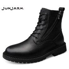 цена JUNJARM Fashion Men Boots High Quality Genuine Leather Ankle Snow Boots Shoes Warm Fur Plush Lace-Up Winter Shoes Size 38-47 онлайн в 2017 году