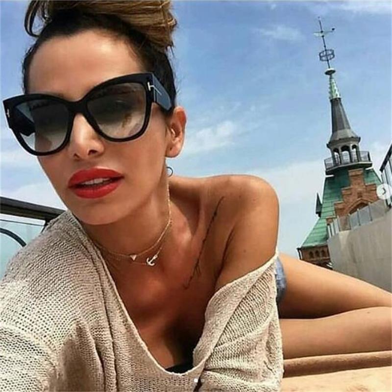 Vintage Oversized Cat Eye Sunglasses Women 2019 Large Black Shades Sexy Gradient Glasses Luxury Brand Women Sunglasses UV400