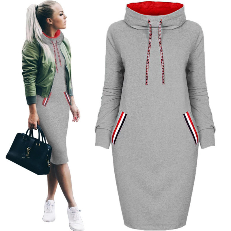 Women Autumn Winter Midi Dress Slim Casual Solid Long Sleeve With Pocket Hoodie Hoody Dresses S-3XL Warm Dress