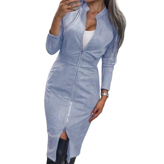 Женское винтажное офисное платье TAOVK, облегающее платье на молнии с длинным рукавом и воротником-стойкой 6