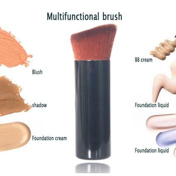 1PC profesjonalny pędzel do podkładu pędzel do makijażu drewna uchwyt miękkie włosy syntetyczne narzędzia do makijazu tanie i dobre opinie popfeel NYLON 1 pc Makeup brush Foundation Brush Fundacja Z tworzywa sztucznego