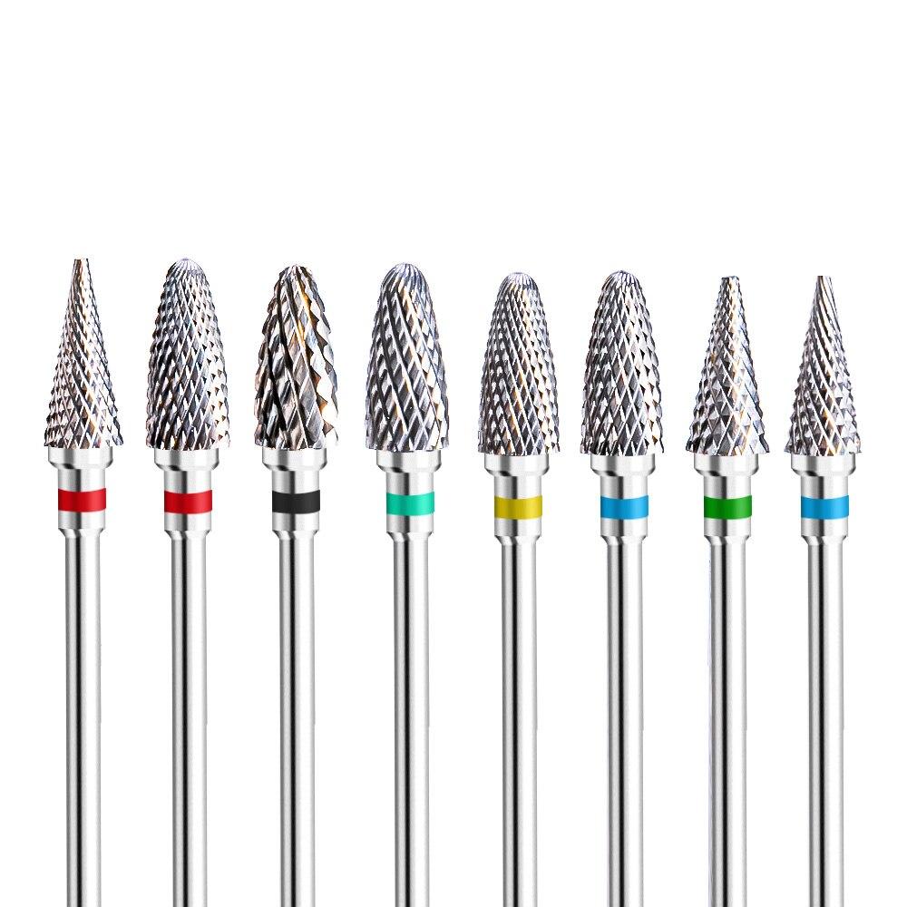 Вольфрамовое сверло для ногтей, 3 цвета, керамические сверла, фрезы для маникюра, пилки для ногтей, буферные аксессуары для ногтей