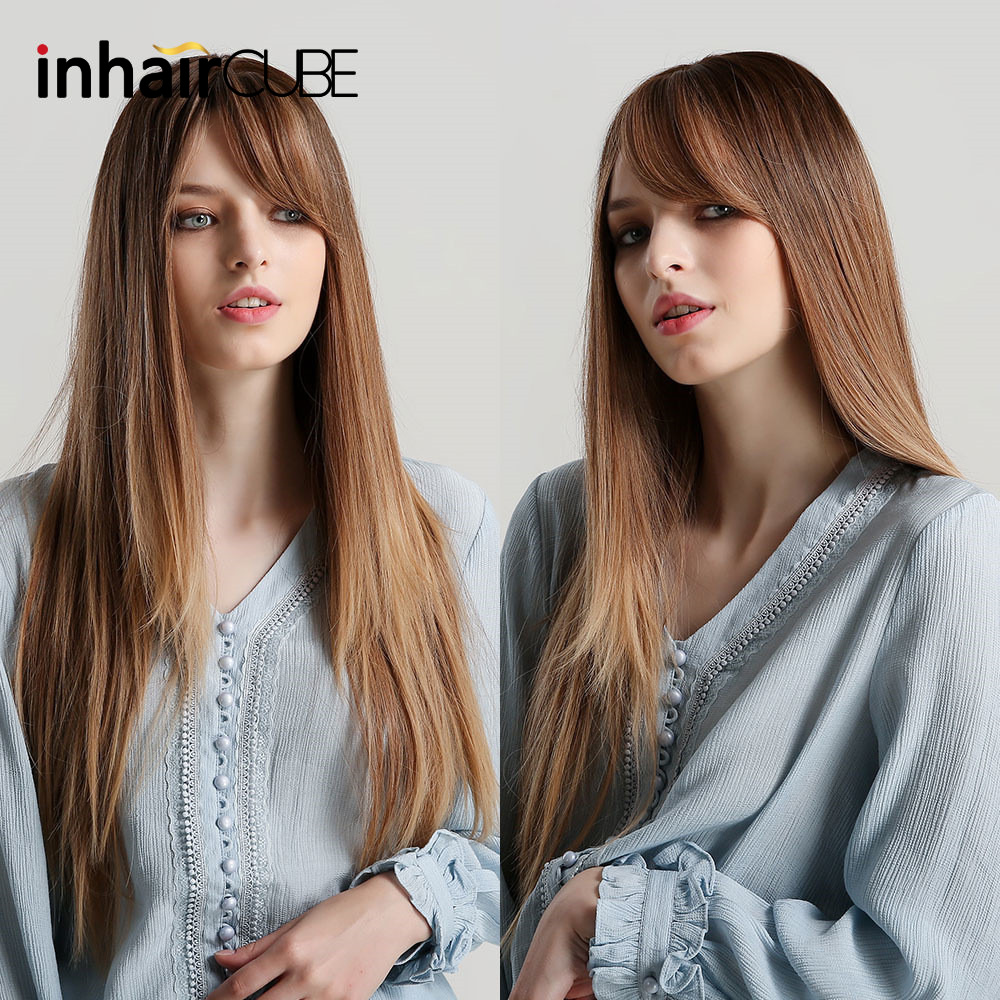 Inhaircube Long Synthetic Natural Straight Brown Ombre Blonde Hair Wigs With Bangs Heat Resistant Hair Wigs For Black Women