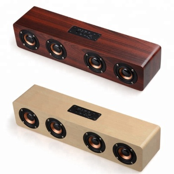 Dual-horn Wooden Subwoofer Bass dj speaker With Bass Music Sound Intelligent Calls Handsfree TF Card Aux Mode