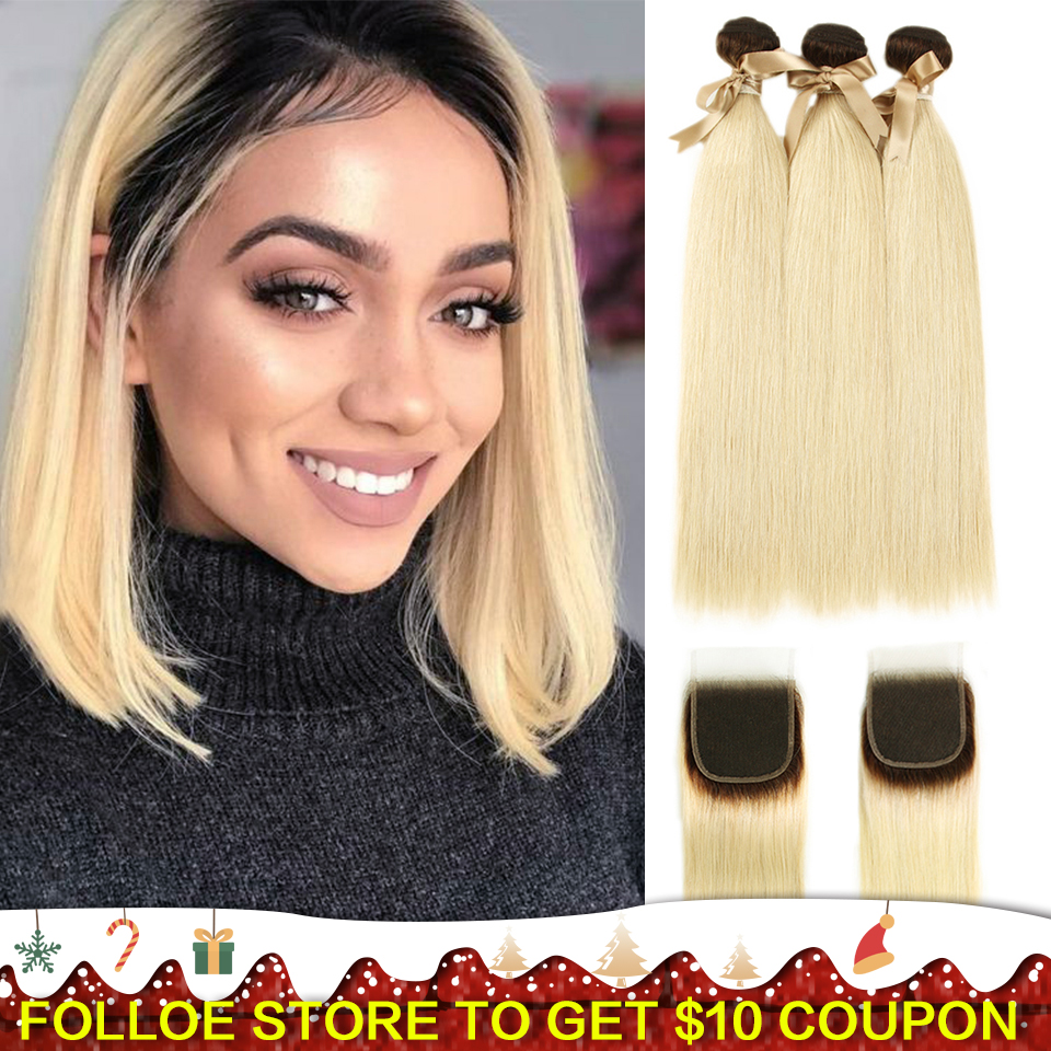 Joedir Human Hair Bundles With Closure Brazilian Straight 3/4Bundles Hair With Closure T4/613 Honey Blonde Remy Human Hair Weft