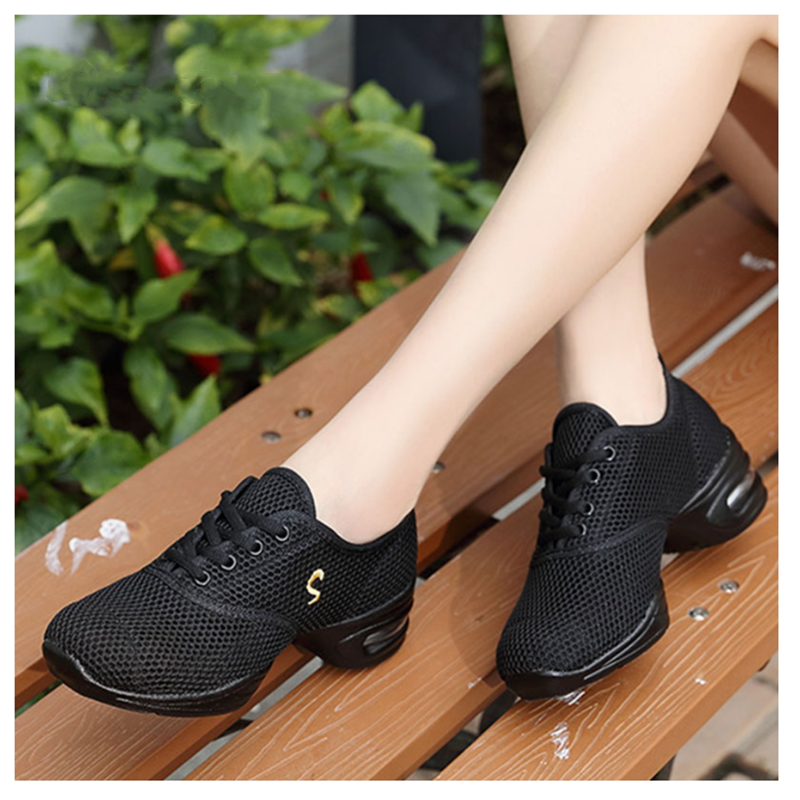 Modern Jazz Dance Sneakers Women Breathable Mesh Lace Up Dancing Practice Shoes Cushioning Lightweight Fitness Trainers