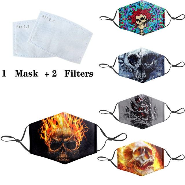 Anti Dust Face Masks PM2.5 Filter Mouth-Muffle Mask Skull Printing Bacteria Proof Flu Mask Reusable Protective Masks 1